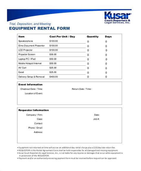 Equipment Receipt Template by Sle Rental Receipt Form 8 Free Documents In Pdf Doc
