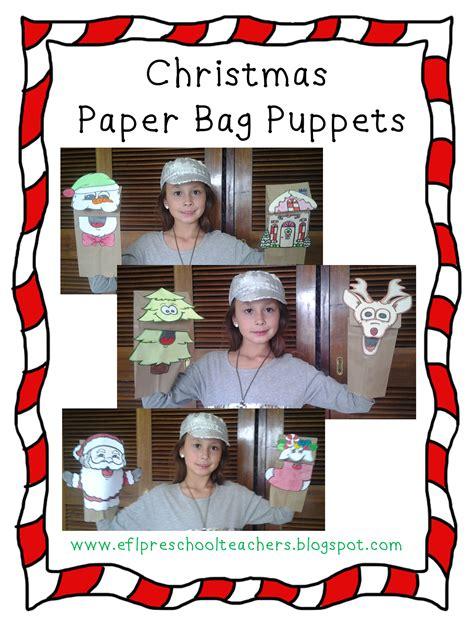 eslefl preschool teachers christmas paper bag puppets