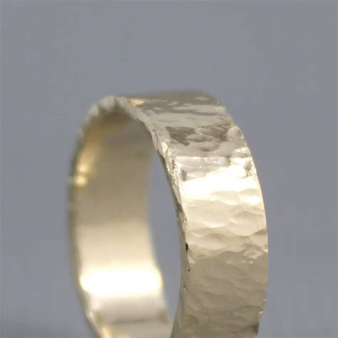 Hammered Texture 6mm 14K Yellow Gold Wedding Band   Unisex
