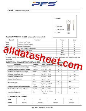 transistor d882 y datasheet d882 datasheet pdf shenzhen ping sheng electronics co ltd