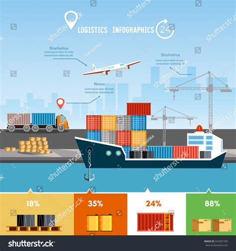 global delivery concept logistics set air stock vector 552007783