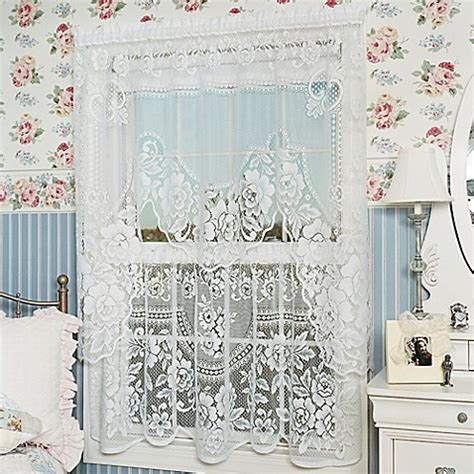 lace curtains bed bath and beyond heritage lace 174 victorian rose 30 inch window curtain tier