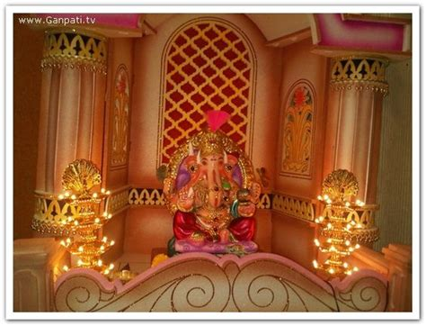 ganpati decoration at home ganpati decoration makhar home decorating ideas pictures