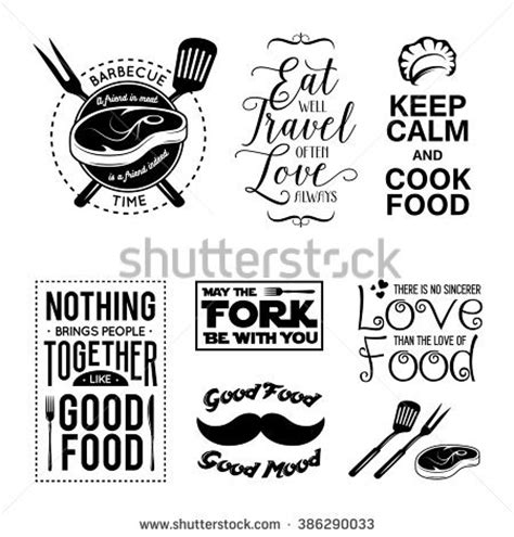 design elements quotes set vintage food related typographic quotes stock vector