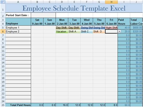 excel employee schedule template weekly calendar hours 2016 uk format calendar template 2016