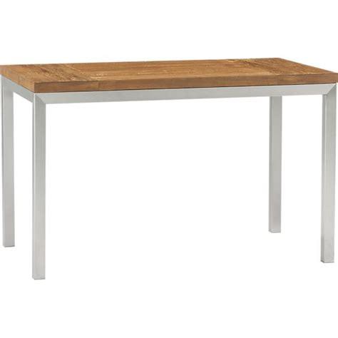 dining table stainless steel top teak top stainless steel base 48x28 parsons dining table