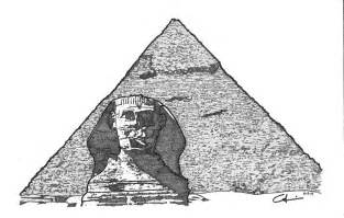 pyramid and sphinx drawing by calvin durham