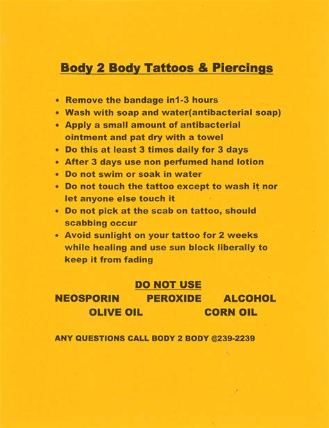 tattoo aftercare instructions exercise view the products and services that body 2 body tattoos of