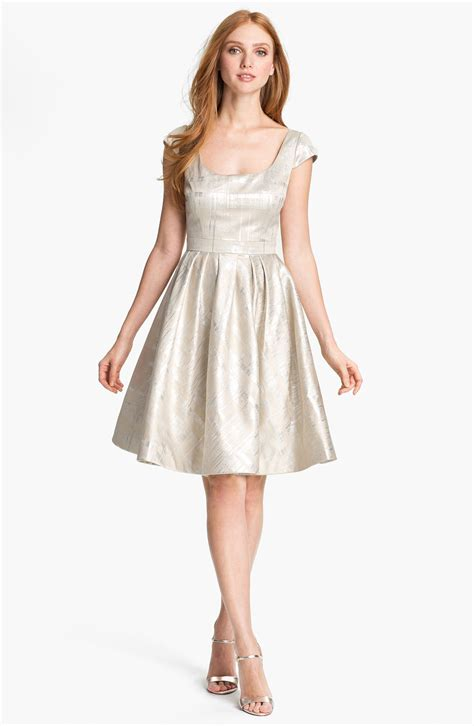 Metallic Dresses by Unger Metallic Fit Flare Dress For Xeuee