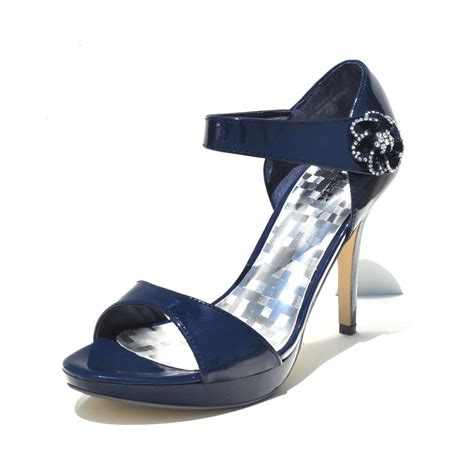 machi navy blue slingback high heel sandals
