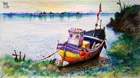 boat drawing with colour learn how to draw colored a boat in a simple landscape