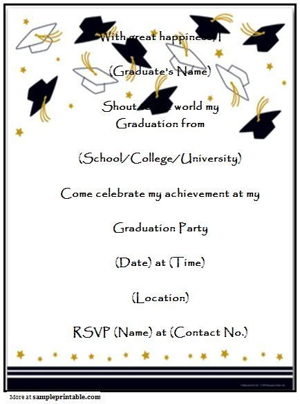 name card templates for graduation announcements graduation announcement templates free invitation template
