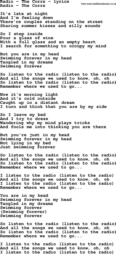 song by radio the corrs song