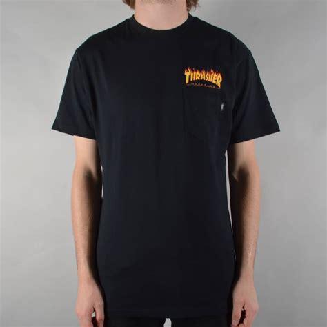 vans x thrasher pocket t shirt black skate clothing