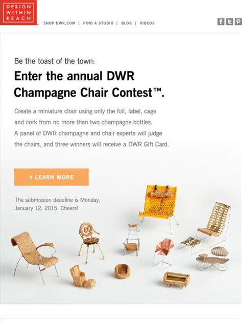 design within reach contest design within reach call for entries the dwr chagne
