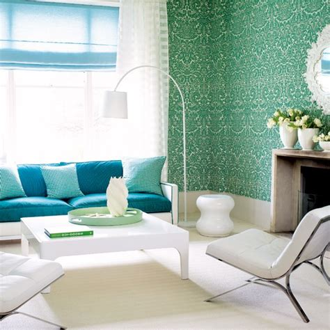 Blue Wallpaper For Living Room by Turquoise Damask Wallpaper Living Room Patterned Rooms