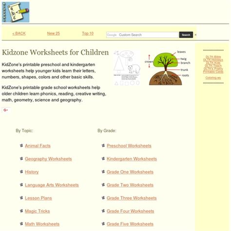 kidzone worksheets kidzone facts for pearltrees