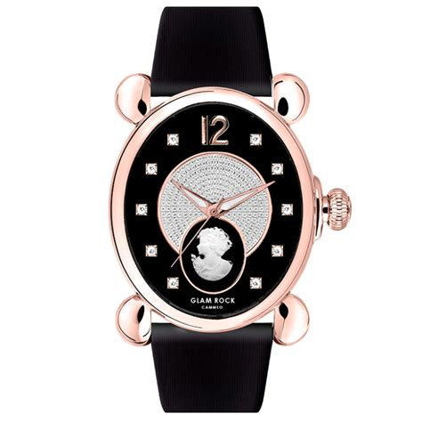 Glam Rock Product by Gold Ip Stainless Steel And Diamonds With Black