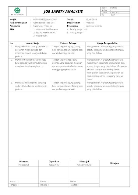format laporan incident contoh laporan jsa syd thomposon 2012