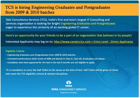 Mba Openings In Tcs by All That U Want Recent Fresher S Openings 2009 2010