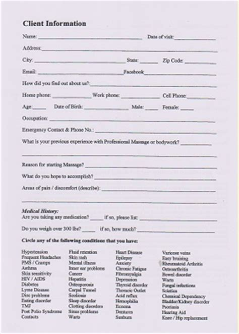 pampered healing client intake form
