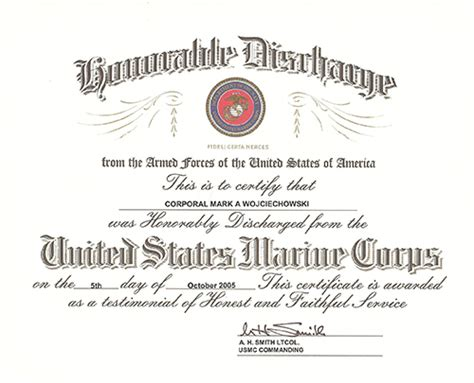 honorable discharge certificate template tony wojciechowski quot tony wojo quot awards