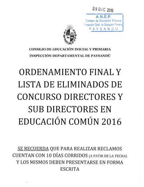 lista final de directores y subdirectores aptos para el examen lista homologada concurso directores paysand 250