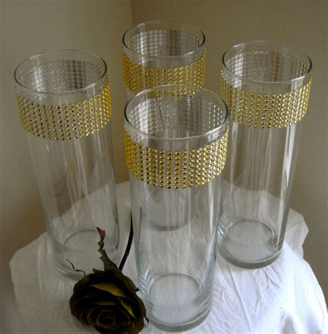Bling Wrap For Vases by Set Of 10 Gold Rhinestone Wrap Glass Cylinder Vases