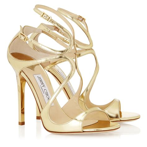 jimmy choo gold sandals lyst jimmy choo lance gold mirror leather sandals in