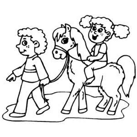 pony ride coloring pages kids on pony coloring page