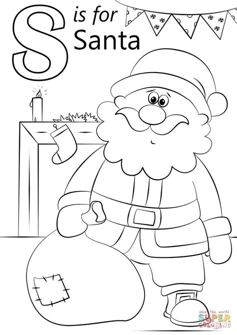 letter s coloring pages letter s is for santa coloring page free printable