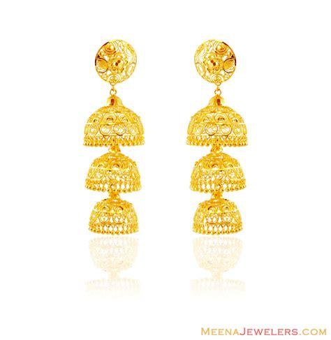 gold jhumka pattern exclusive 22k gold jhumkas erex16049 22k gold jhumka