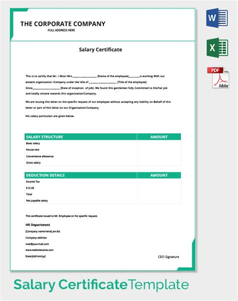 format lop doc salary certificate template 25 free word excel pdf