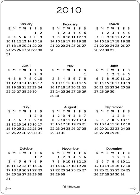 2010 calendar template 2010 calendar