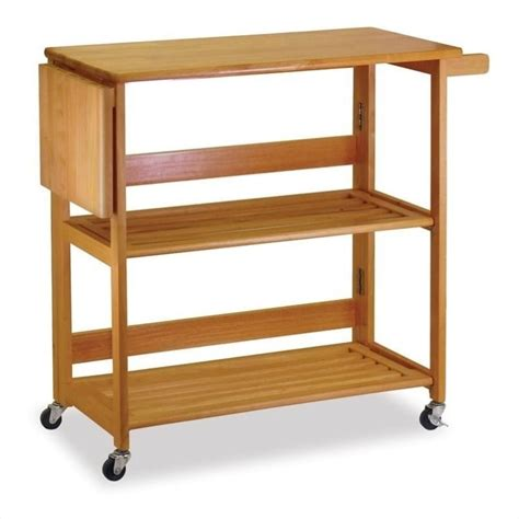 Kitchen Cart by Winsome Foldable Butcher Block Light Oak Kitchen Cart Ebay