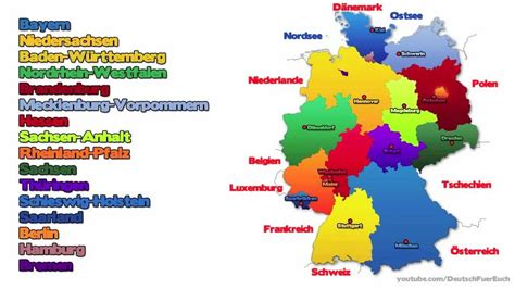 german states and capitals map learn german episode 9 the german federal states die