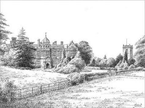 ingestre hall staffordshire pen drawing
