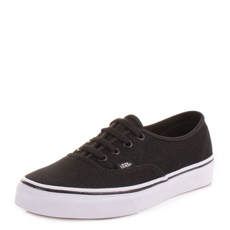 vans flat shoes womens vans authentic black shimmer flat lace up casual