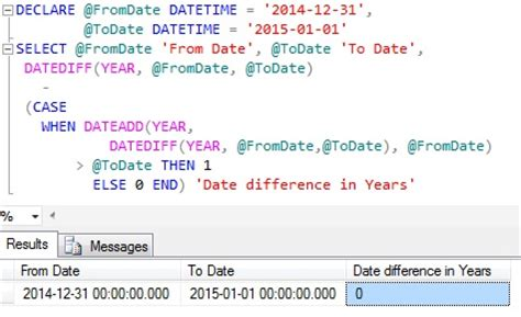 Difference Between One Year And Two Year Mba by Sql How To Calculate Age Number Of Years Between Two