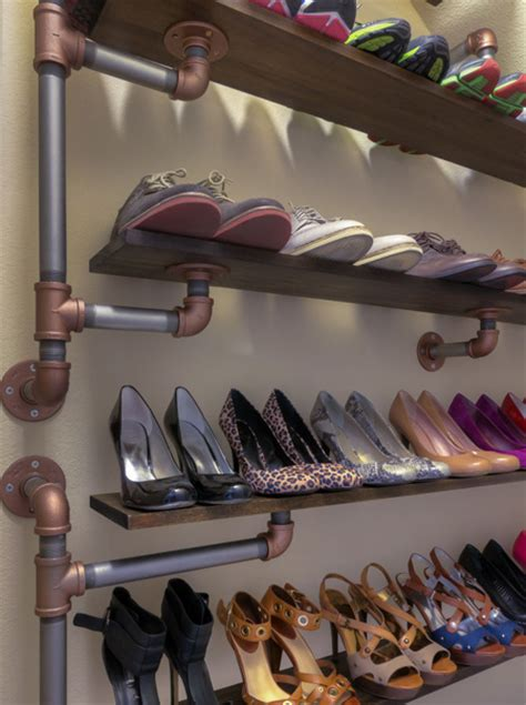 diy closet shoe rack home dzine home diy industrial style shoe rack