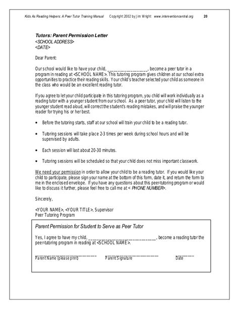 Parents Consent Letter For School Peer Tutormanual