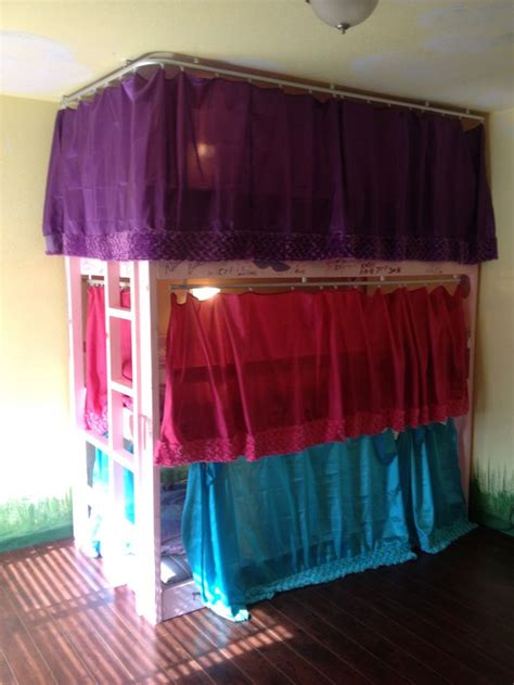 Homemade triple bunk beds for a standard 9 ft ceiling also made curtains for each bed 170 00