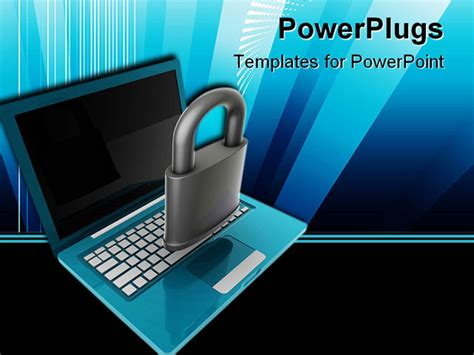 Powerpoint Template Notebook Laptop With Black Screen And Computer Security Ppt Templates Free