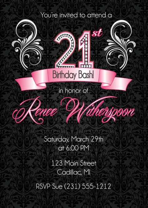 21st Birthday Invitation Card Template by 21st Birthday Invitation 21st Birthday Invitation