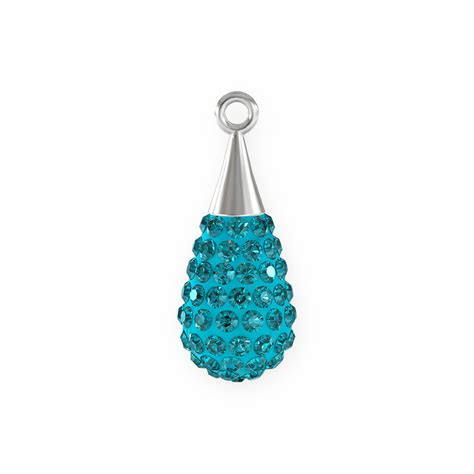 swarovski drop swarovski 20mm aquamarine rhodium plated pav 233 drop pendant