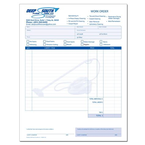 Free Carpet Cleaning Receipt Template by Cleaning And Janitorial Invoice Forms Designsnprint