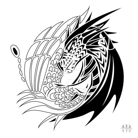yin yang dragon tattoo tattoo design yin yang dragon phoenix by h brid on deviantart