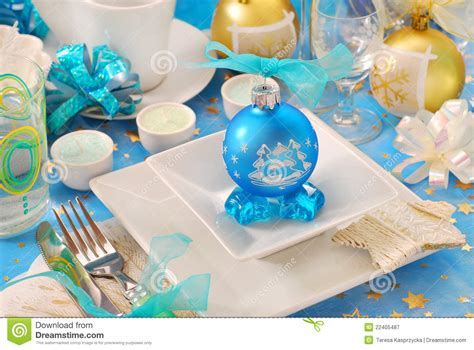 bauble table decoration table with blue bauble decoration stock image