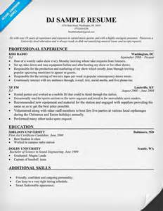 disc jockey resume resumecompanion wedding