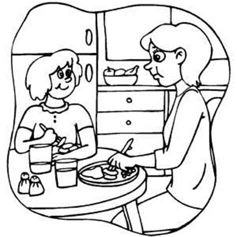 coloring page of family eating dinner sketch of eating at the dinner table coloring pages